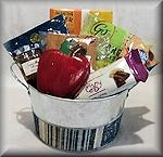 Silver and Blue Round Rosh Hashana Basket